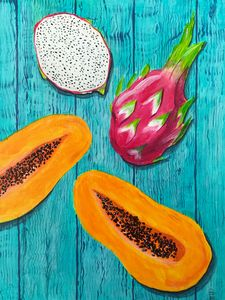 Exotic fruits on the blue board