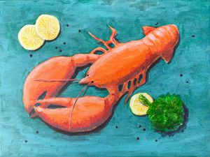 Lobster on the blue table