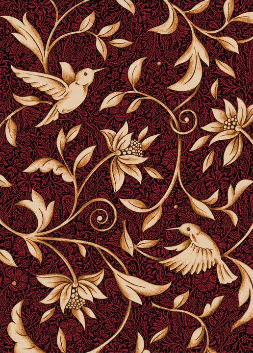 Humming Bird & Floral Chintz Red - Stevies Art