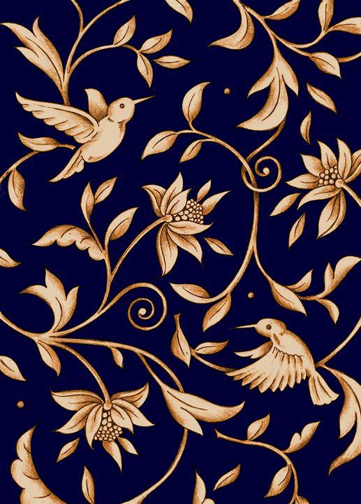 Humming Bird Floral Blue - Stevies Art