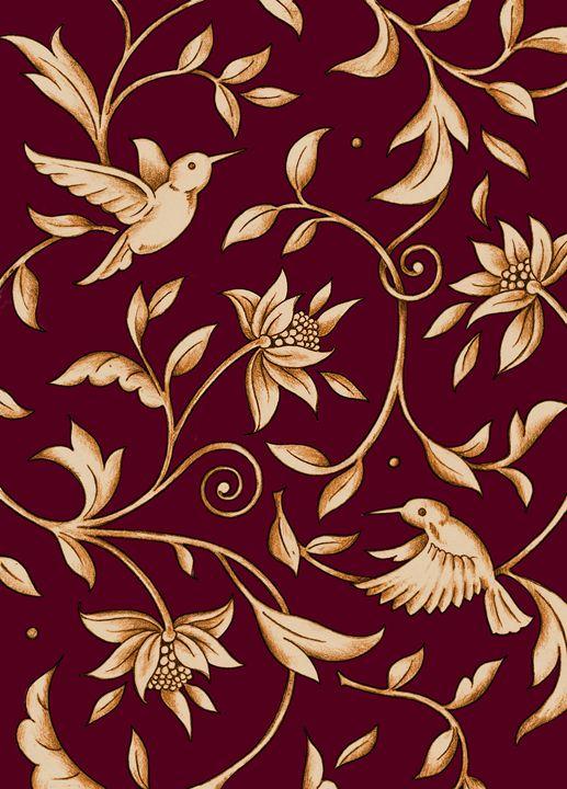 Humming Bird Floral Red - Stevies Art