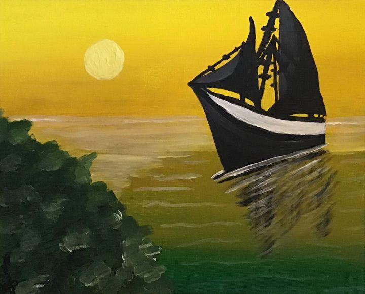 Yellow sunset with boat - Samantha Wilson