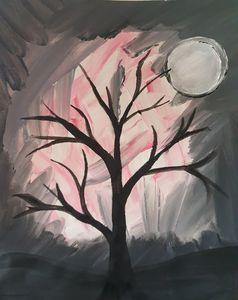 Black Tree on Pink