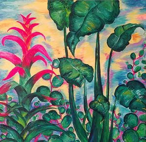 Jungle garden sunset