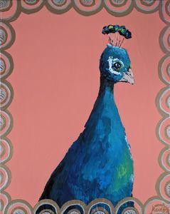 Framed art deco peacock