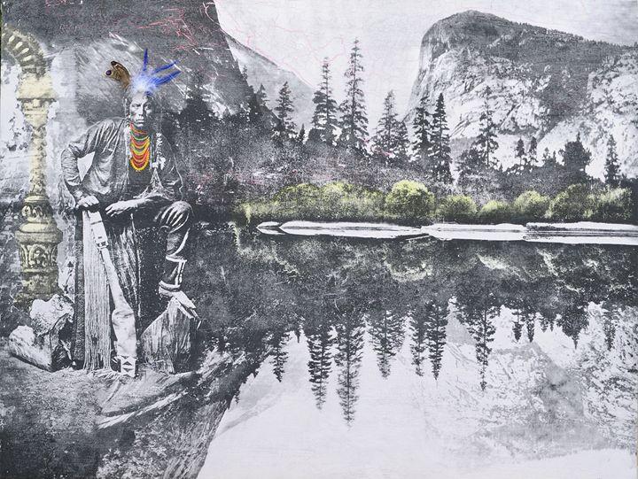 Ashishishe. Crow facing mirror lake. - Stephane Korb Art