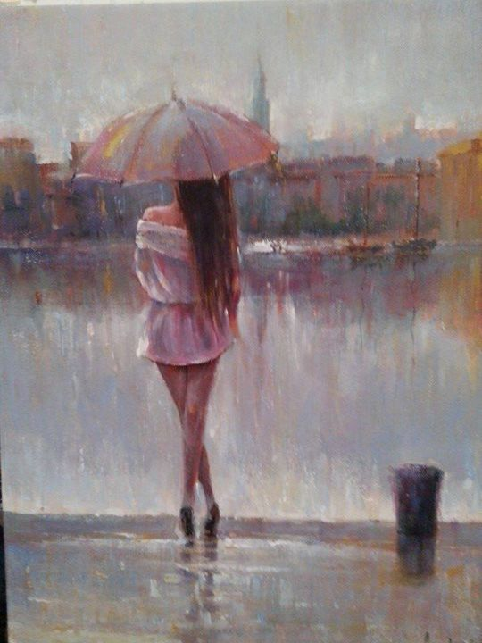 Woman with umbrella - Davor Subotić