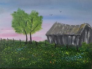 Old Barn in Wildflowers