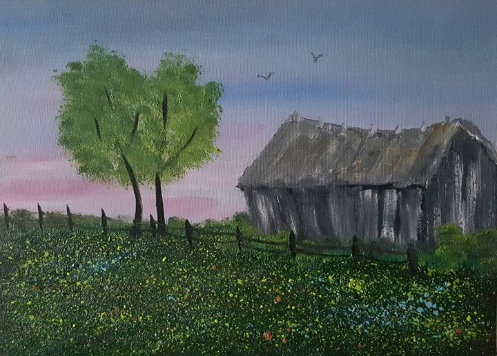 Old barn in wildflowers - AMYTINDALLART