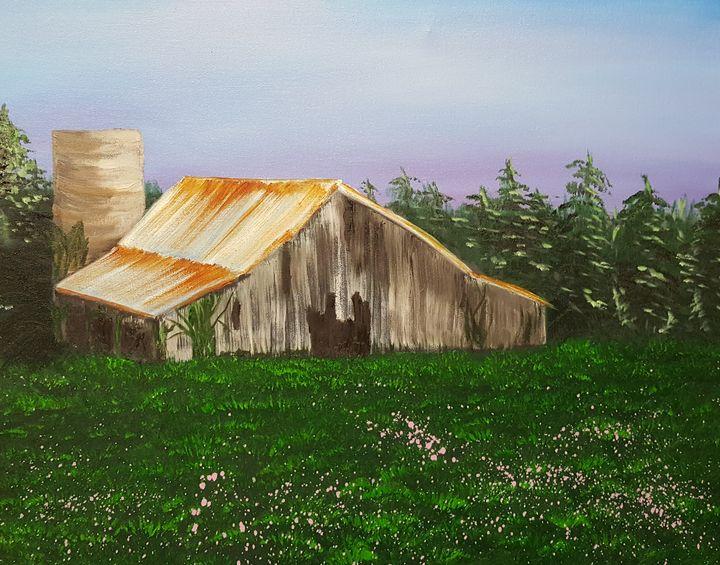 Large Barn in Spring fields - AMYTINDALLART