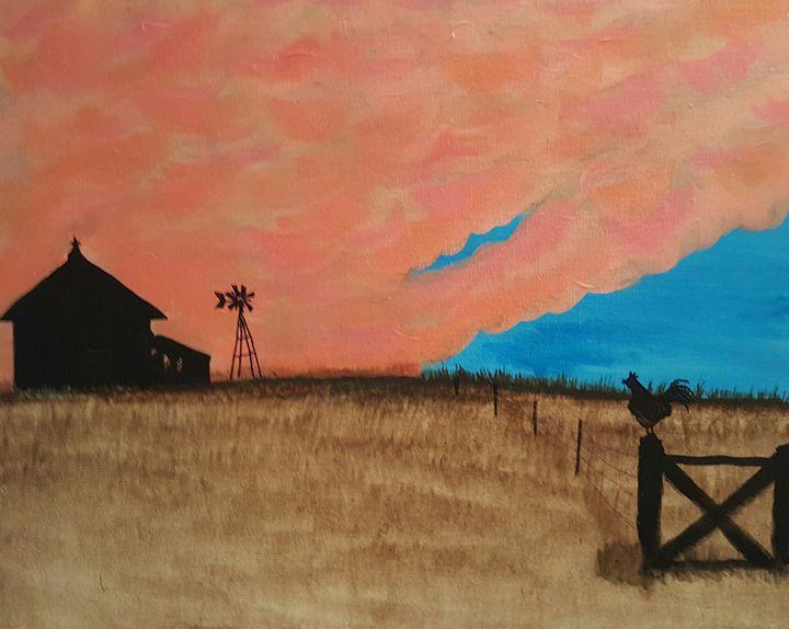 Red Sky In Morning - AMYTINDALLART