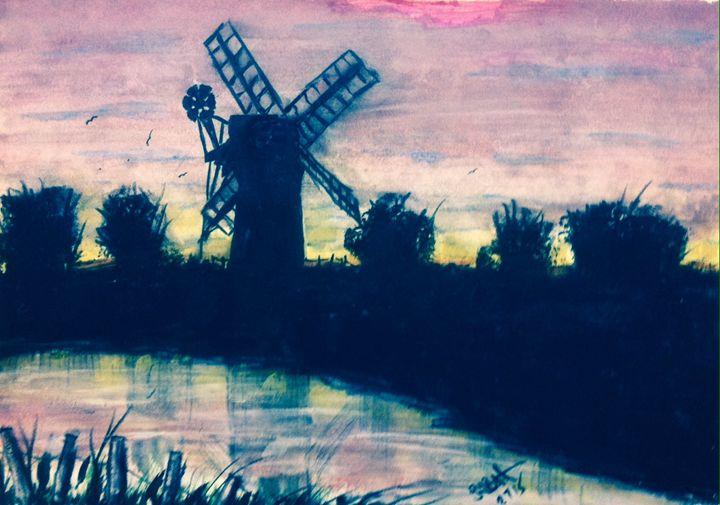 Norfolk Broads Mill - SJB Norfolk Artist