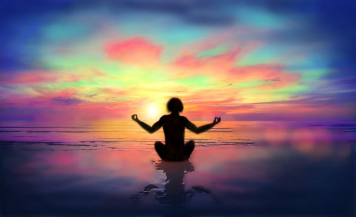Yoga at Sunset - Sacred Resonance Art
