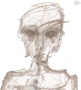 Gray Alien Portrait (Untitled)