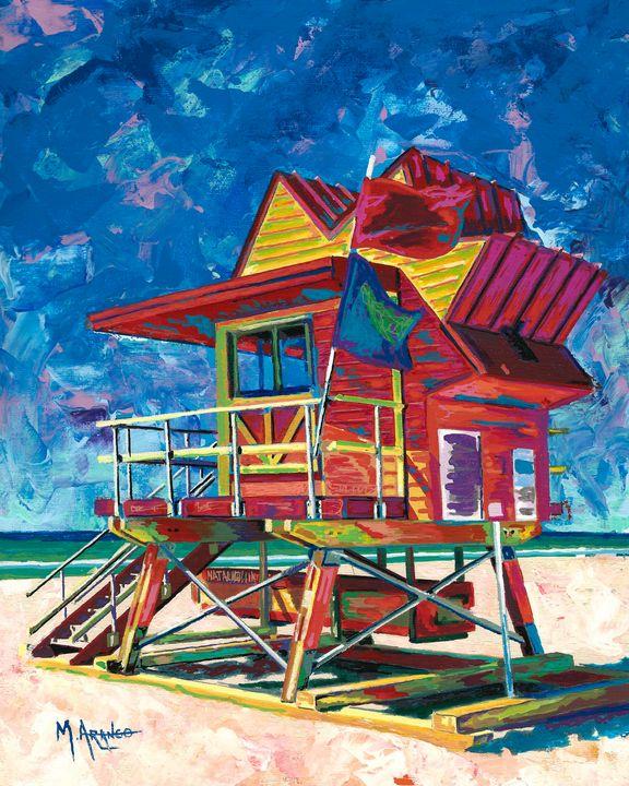 Colorful Lifeguard Station - M. Arango Art