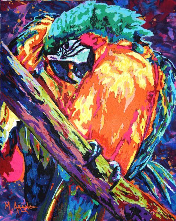 Preening Macaw - M. Arango Art