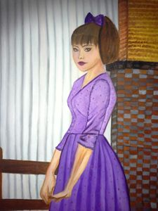 Girl in Purple (20x28) Oil Painting