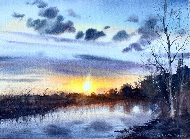 Sunset over the river - Eugenia Gorbacheva