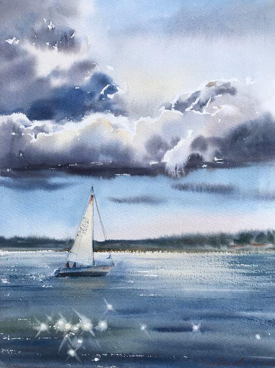 Sailing yacht in the sea. - Eugenia Gorbacheva