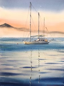 Sailing Yacht on a foggy morning