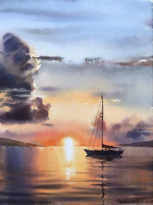 Sailing yacht and fire sunset - Eugenia Gorbacheva