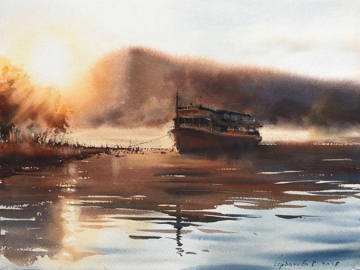Motor ship on the river - Eugenia Gorbacheva