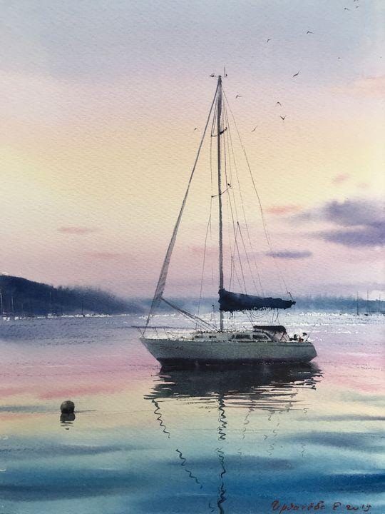 Yacht at dawn - Eugenia Gorbacheva