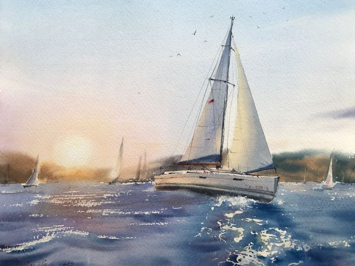 Yachts before sunset - Eugenia Gorbacheva