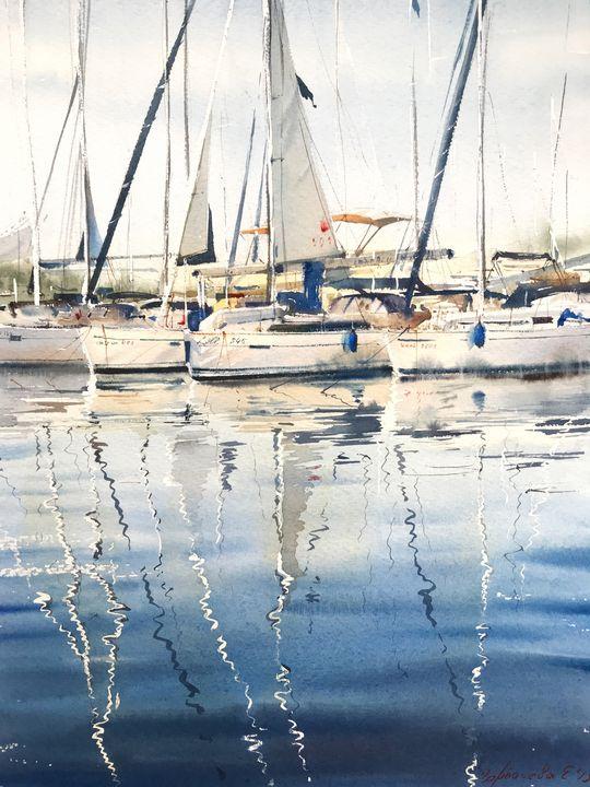 Moored yachts - Eugenia Gorbacheva