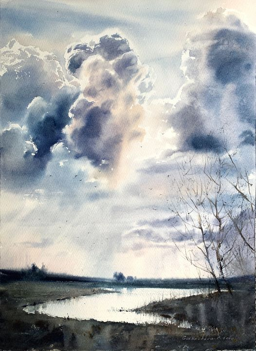 River and clouds - Eugenia Gorbacheva