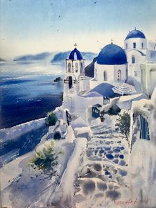 Santorini, Greece (Blue)
