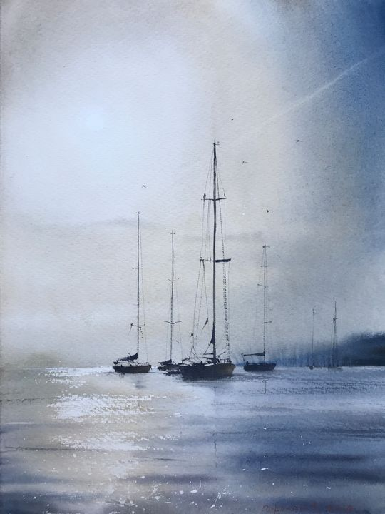 Yachts at anchor - Eugenia Gorbacheva