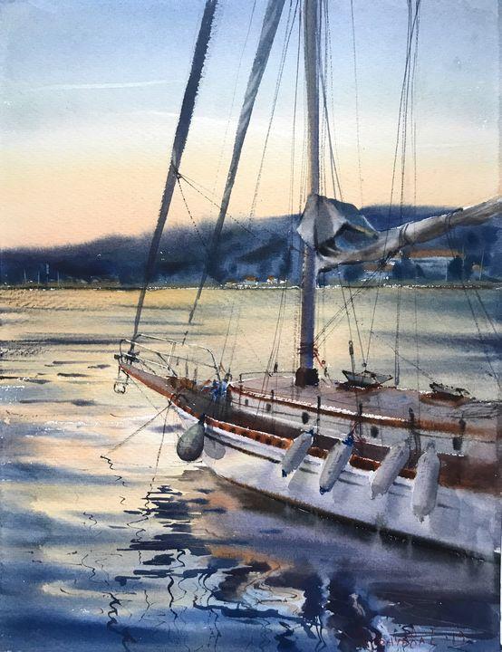 Yacht before sunset - Eugenia Gorbacheva