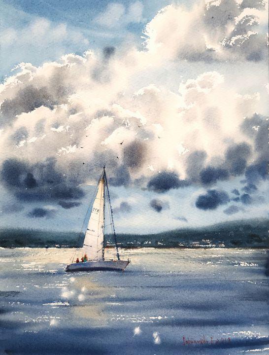 Sailboat and clouds - Eugenia Gorbacheva