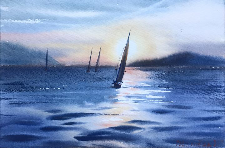 Yachts at sunset - Eugenia Gorbacheva