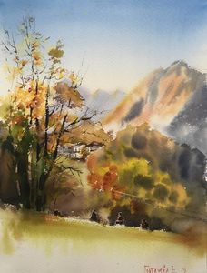 Autumn tree at the mountains