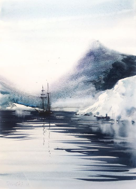 Ship and glacier - Eugenia Gorbacheva