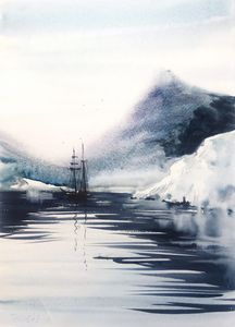 Ship and glacier