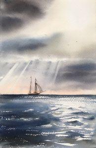 Ship and sun ray