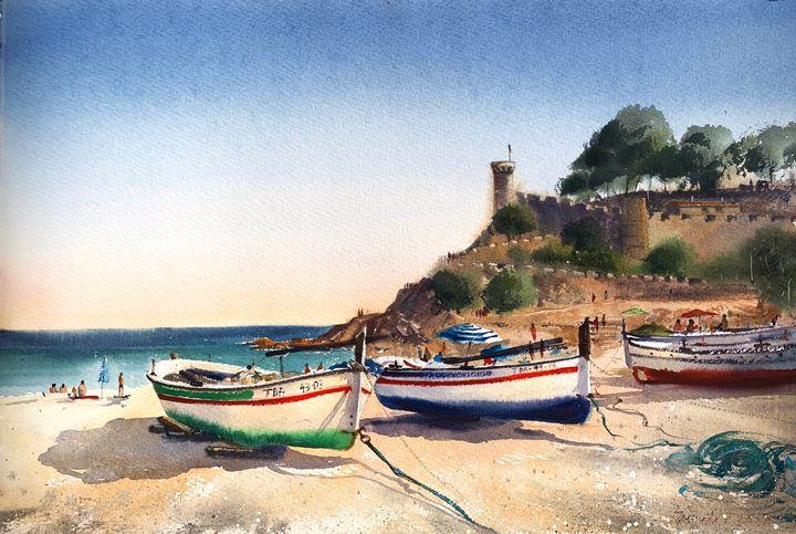Boats on the beach in Tossa del Mar, - Eugenia Gorbacheva
