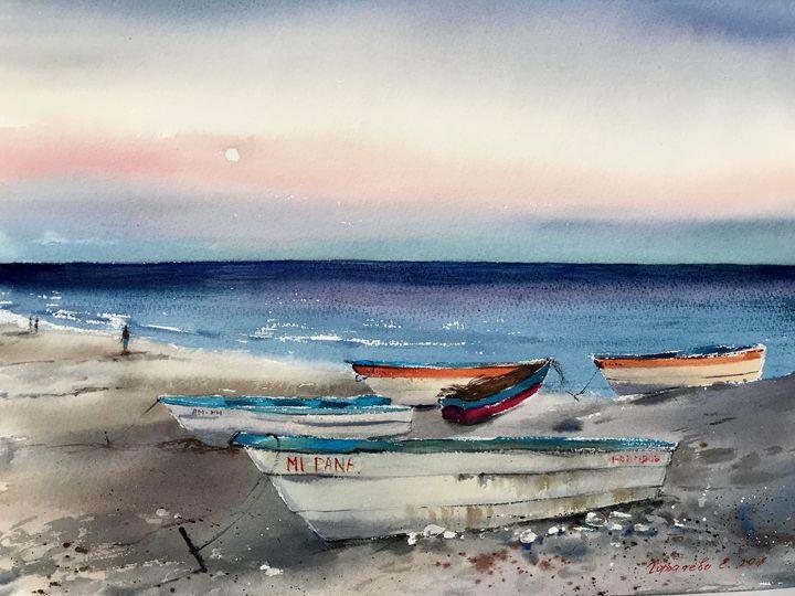 Dominican boats at sunset - Eugenia Gorbacheva