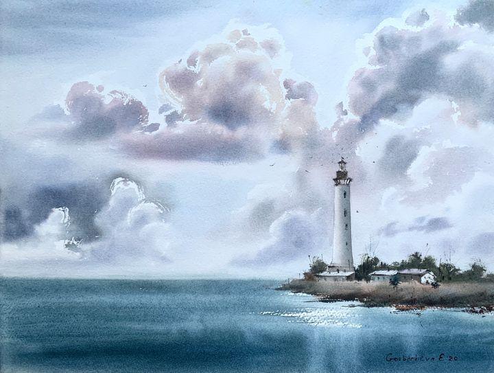 Lighthouse and Clouds - Eugenia Gorbacheva