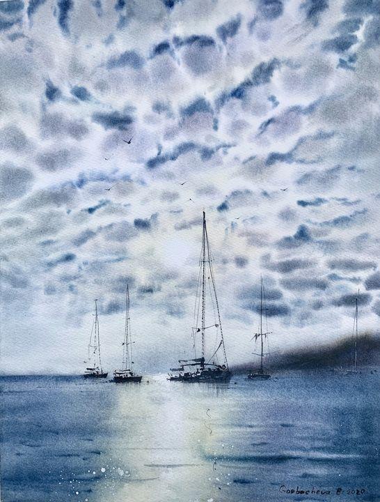Yachts at anchor #2 - Eugenia Gorbacheva