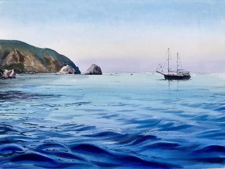 Yacht in the sea - Eugenia Gorbacheva