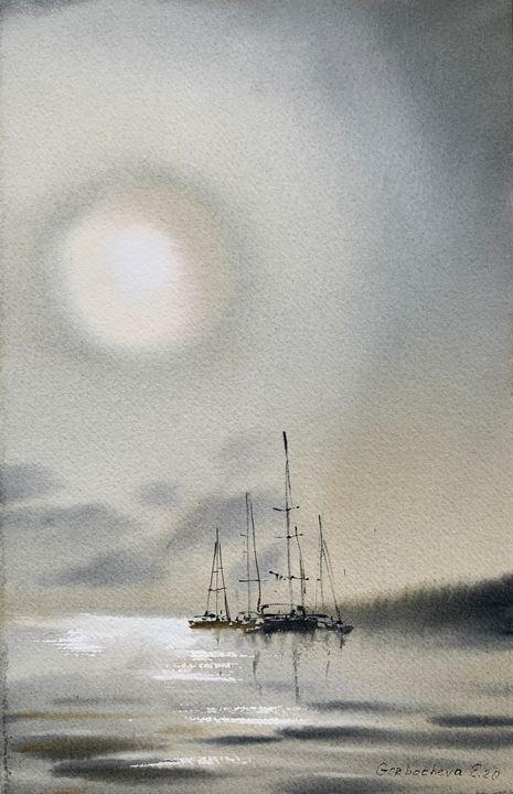 Yachts at anchor #3 - Eugenia Gorbacheva