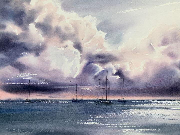 Yachts at anchor #4 - Eugenia Gorbacheva