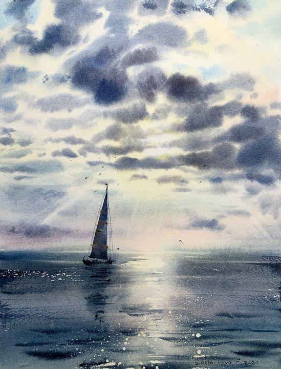 Sailboat and clouds #5 - Eugenia Gorbacheva