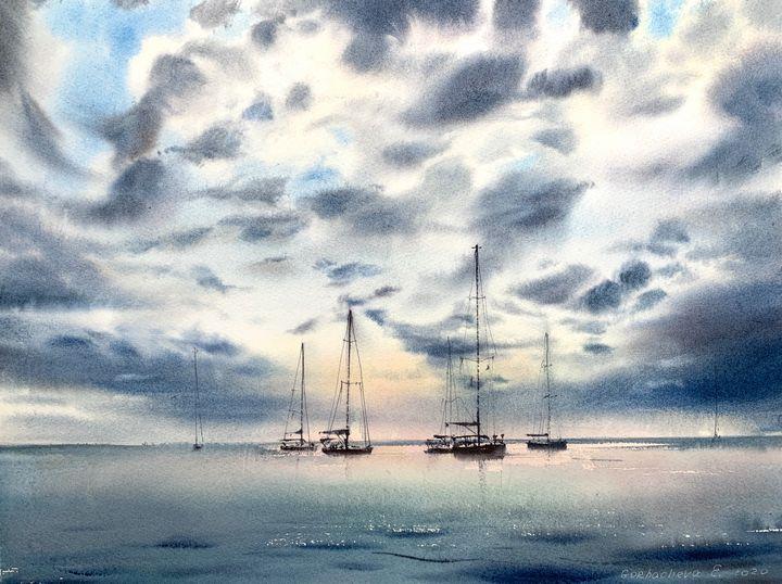 Yachts at anchor #5 - Eugenia Gorbacheva