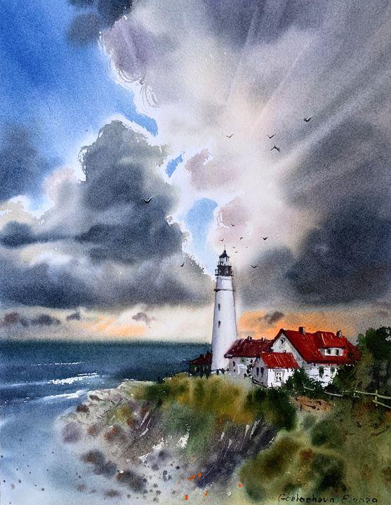 Lighthouse and Clouds #3 - Eugenia Gorbacheva