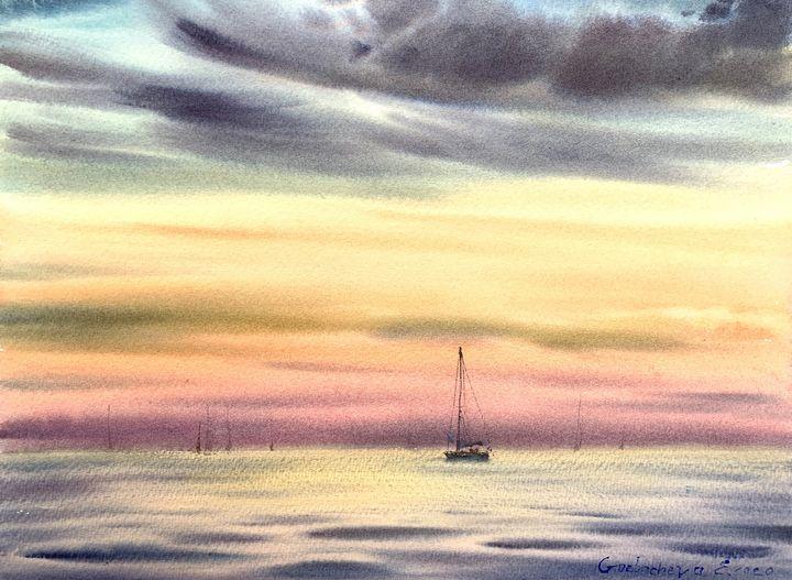 Yacht and pink sunset - Eugenia Gorbacheva